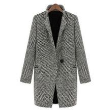 Винтаж Для женщин осень-весна длинное пальто парка куртка Тренчи для женщин шерсть с лацканами верхняя одежда