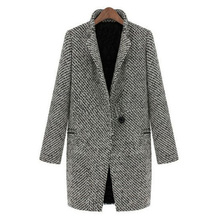 Vintage Women Autumn Spring Long Coat Parka Jacket Trench Wool Blends Lapel Outwear