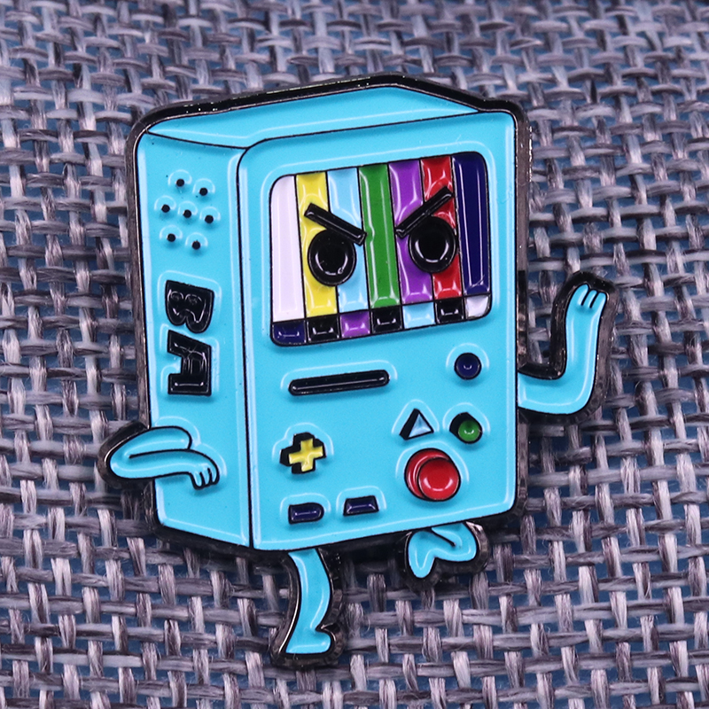 Bad ass barely alive BMO cartoon pin adventure time nintendo video game brooch cute hat backpack accessories