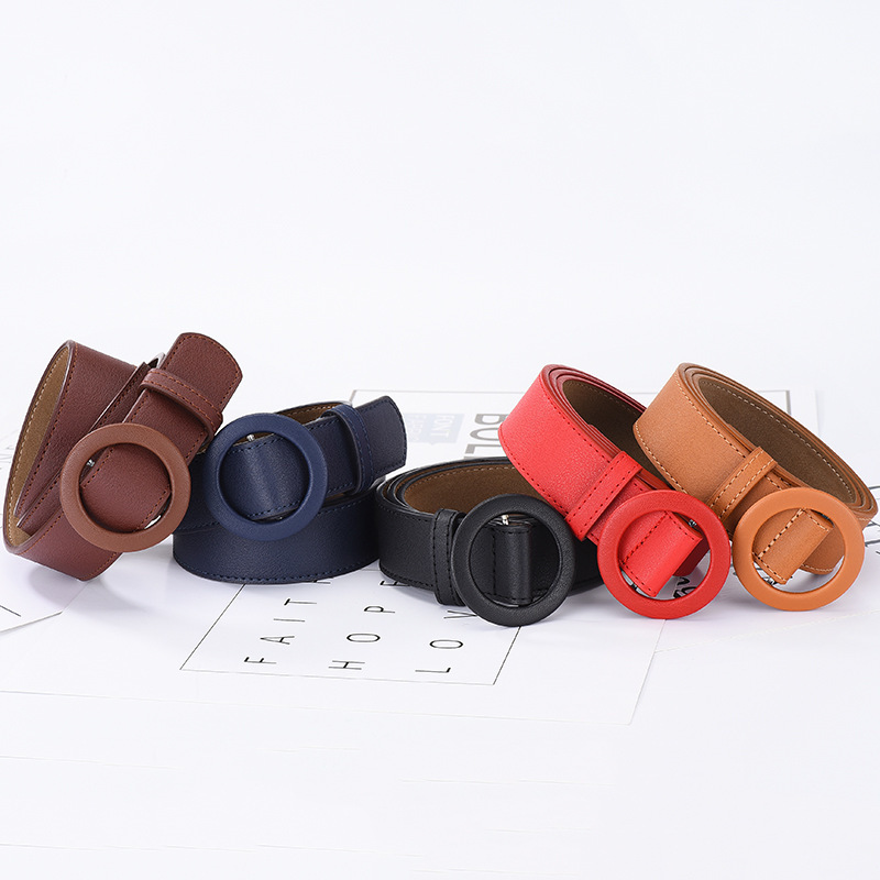 Soft Solid Fashion Color Women's Belts For Trendy Round Hole Female Leather Buckle Strap Designer Jeans Pants For Girls Belt NEW