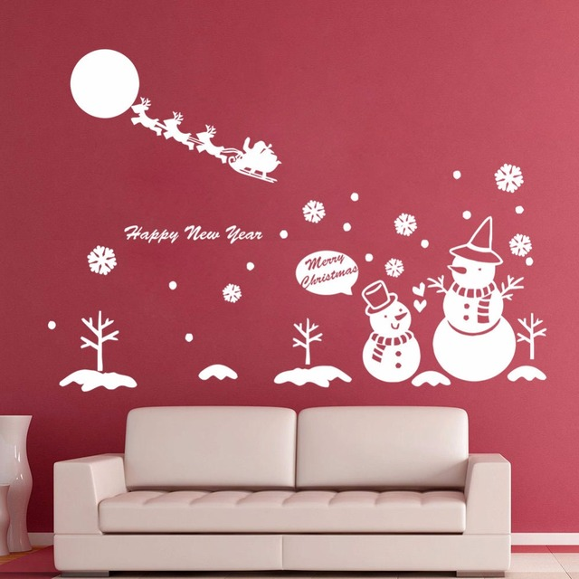 Merry Christmas Santa Claus Snowman Reindeer Wall Stickers Glass ...