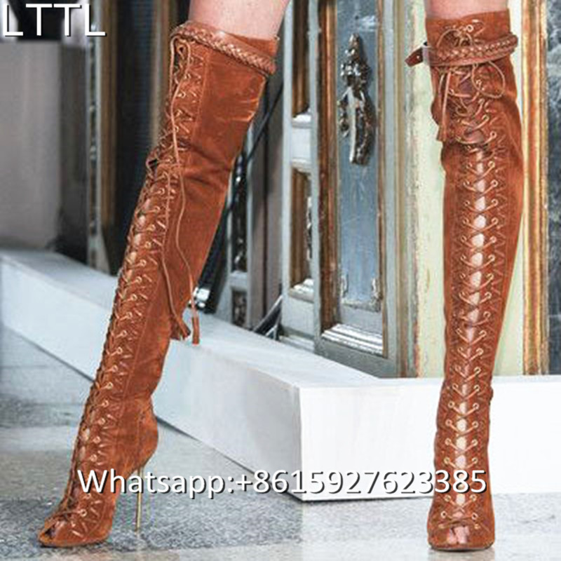 dd0b569cc4f7 Popular Thigh High Boots Brown-Buy Cheap Thigh High Boots Brown ... 2017  Sexy Brown  Black Leather ...