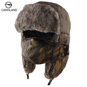 483f35b8be1e9 CAMOLAND 2018 Winter Men Women Trapper Trooper Hat Bomber Hat with Ear  Flaps and Mask Warm Ushanka Hunting Hats Winter Men Hat