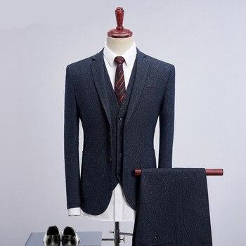 Loldeal (Blazer+Vest+Pants) Solid Navy Blue Suit Men 2018 Business Casual Dress Suit Slim Fit Skinny Mens Suit For Wedding M-4XL