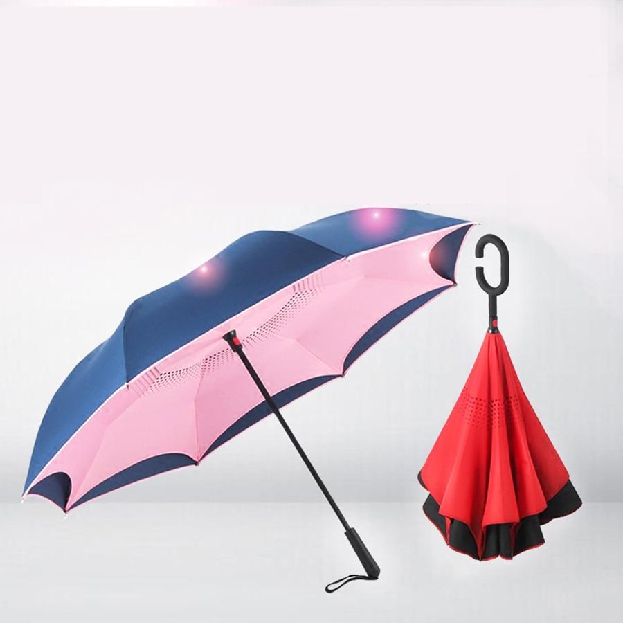 Portable princesse Parasol parapluie créatif Double pluie parapluie coupe-vent UV pliant femmes couleur parapluies inverse parapluies 50