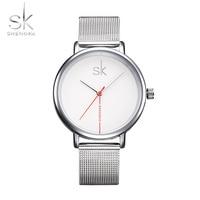 New Brand SK Clock Women Leather Band Waterproof Ladies Clock Fashion Casual Watch Quartz Dress Watches