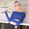 JIUXIUSHIRT Sexy Yoga Shirt Women Quick Dry Long Sleeve Umbilical Tank Top Black For Firness Running