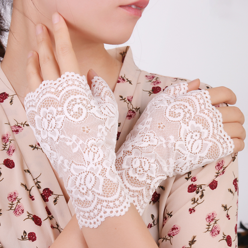 Long Fingerless Women Sexy Lace Gloves White Black Ladies Half Finger Fishnet Gloves Sunscreen Mesh Glove