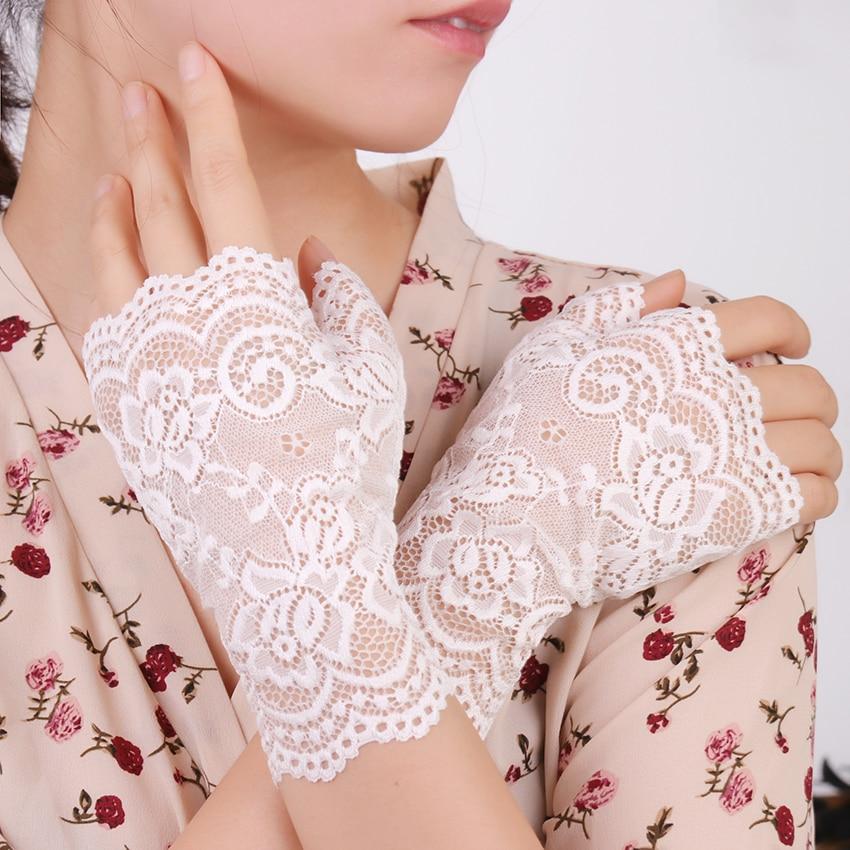 Long Fingerless Women Sexy Lace Gloves White Black Ladies Half Finger Fishnet Gloves Sunscreen Mesh Glove