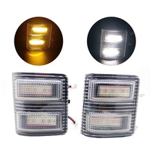 Rearview Mirror Lamp Yellow and White Double Light Smoked Side LED Signal for Ford F250 F350 F450 Super Duty