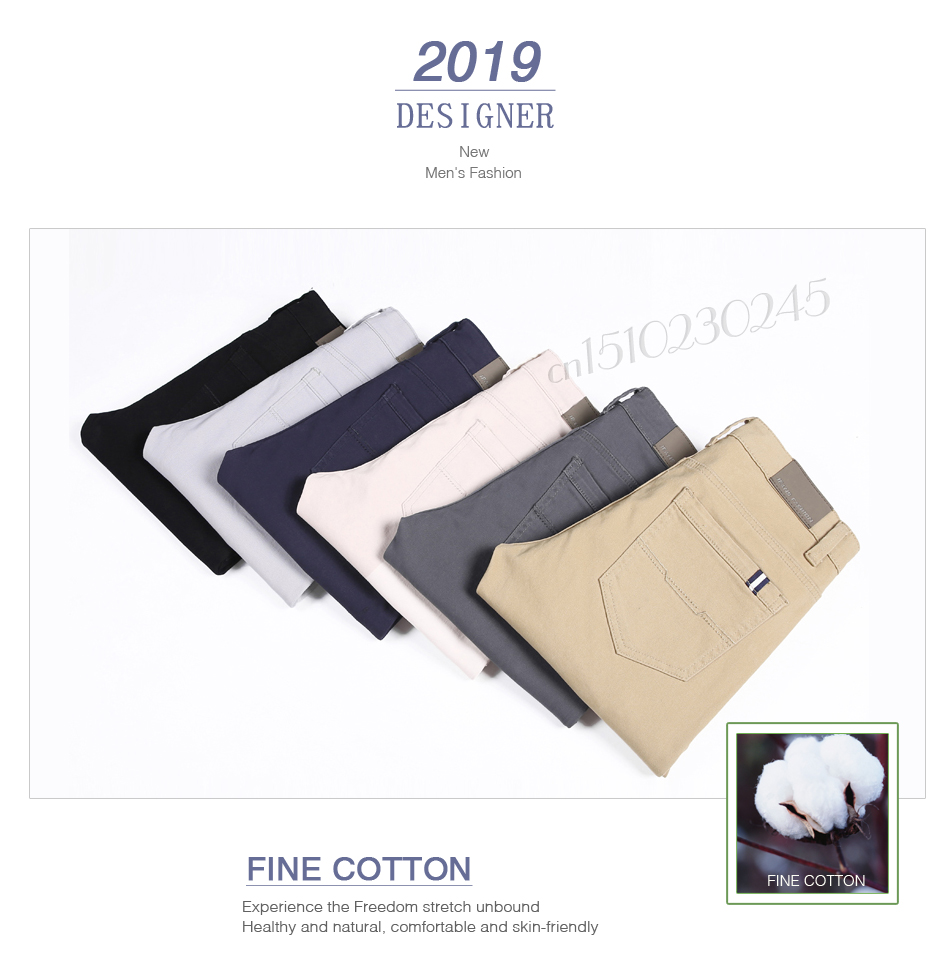6 Color Casual Pants Men 2019 Spring New Business Fashion Casual Elastic Straigh Trousers Male Brand Gray White Khaki Navy