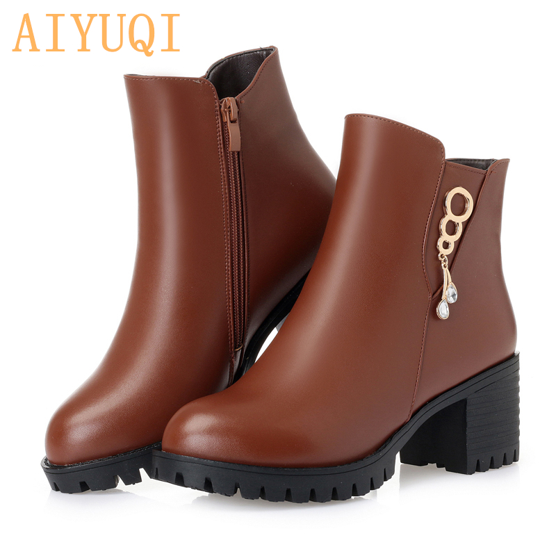 AIYUQI 2019 new genuine leather female ankle boots  big size Australia thick wool female Martin boots  sexy female winter boots