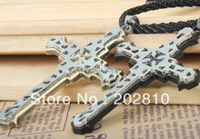 Best-selling Double layer cross Hollow out Carve patterns flower pendant necklace, Leather necklace floral enamel hollow out pendant necklace