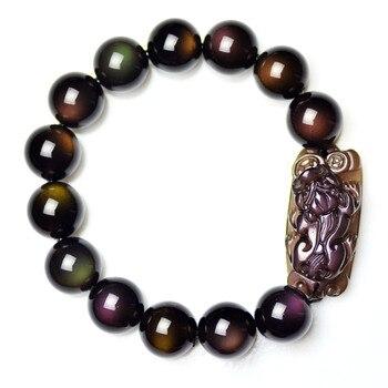 Obsidian bracelet full double natural obsidian pi xiu bracelet male Women crystal bracelets