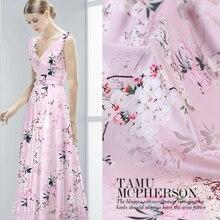 สีชมพูPearดอกไม้พิมพ์ดอกไม้ผ้าไหมผ้าสำหรับชุดกว้าง42นิ้ว
