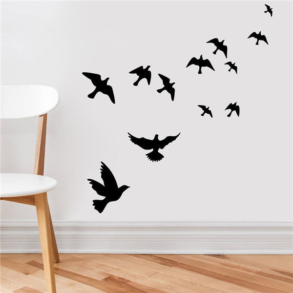 Birds flying feather vinyl wall sticker bedroom home decal mural art decor