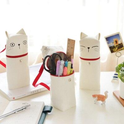 Creativa lápiz bolsa Kawaii bolsa de tela gato emoción novedad cremallera lápiz estuche Papelería para la escuela