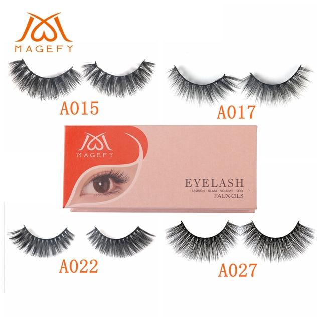 ead2fcbfe73 MAGEFY 1 Pair False Eyelashes Korea Soft Silk 3D Faux Mink Hair Eyelashes  Synthetic Hair Natural