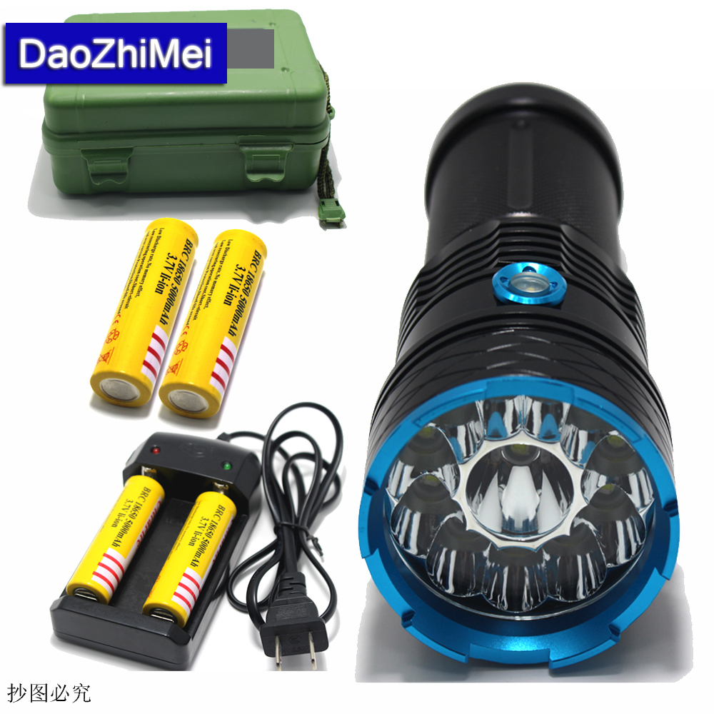 12*XML T6 LED 25000 lumen waterproof flashlight,torch,lantern,camping light,lamp For Hunting Camping+18650 battery+charger+ box hot sale 3x cree xml t6 led headlamp bike light 5000 lumen 18650 led head light 4x18650 battery pack charger bike rear light