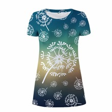 FORUDESIGNS Women Dress Free Shiping Fashion 3D Dandelion Print Short Sleeve Funny Dollar Dresses For De Festa XL