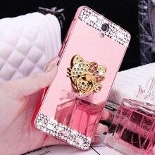 Diamond Glitter kitty beauty Mirror Case for Huawei P 8 10 P 8 9 10 Lite P9 plus mate 7 8 9 pro NOVA Honor Cover 360 Ring holder