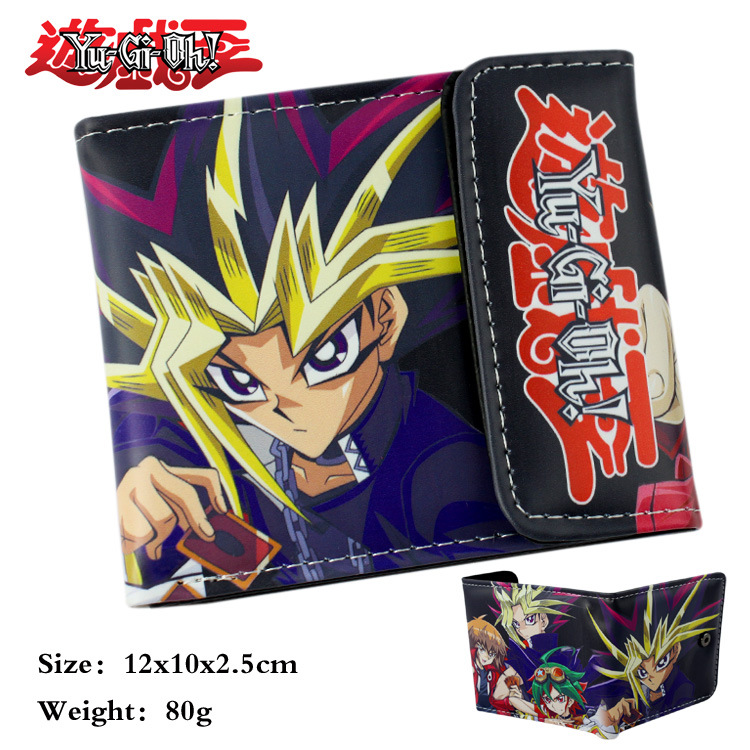 Hot game YU-GI-OH  Coins snap fastener wallet Short Bifold Holder Layers Money Cards Brown Leather Purse Men Otaku Gift