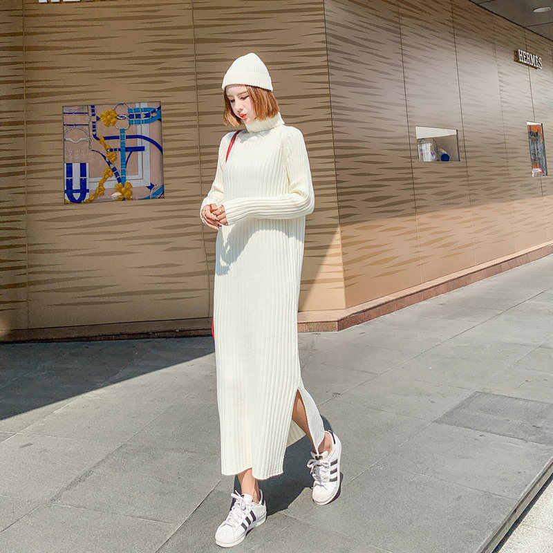 High-Necke Sweater Women's Long Sweater Dress 2018 Autumn Winter New Loose Large Size Casual Wild Femme Knit Sweater Dress LQ558