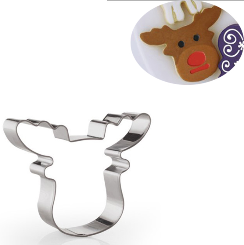 Christmas Deer Mold Cookie Cutter Fondant Cake Decor Biscuit Pastry Mould JN