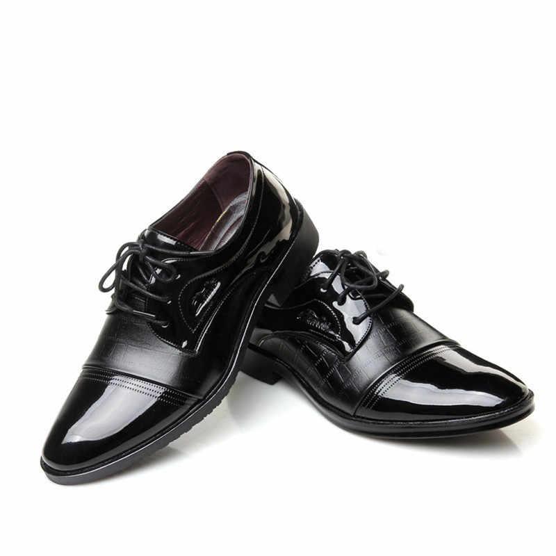 New Men Brogue Dress Shoes With Lace Up Business Leather Shoes Office Men Dress Shoes Plus Size 2018 Leather Casua Shoes 779