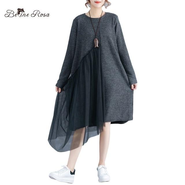 322055d9846 BelineRosa Autumn Winter Dress Women Simple Style Deep Gray Pure Color Plus  Size Dress Irregular Mesh Casual Dresses TYW00916
