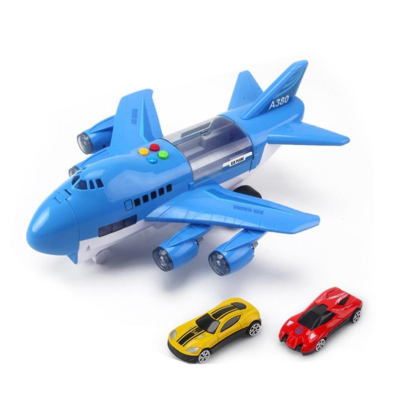 Музыкальная история, имитация трека, инерция, детская игрушка, самолет, большой размер, пассажирский самолет, детский Авиалайнер, игрушечный автомобиль, бесплатный подарок, карта - Цвет: Синий