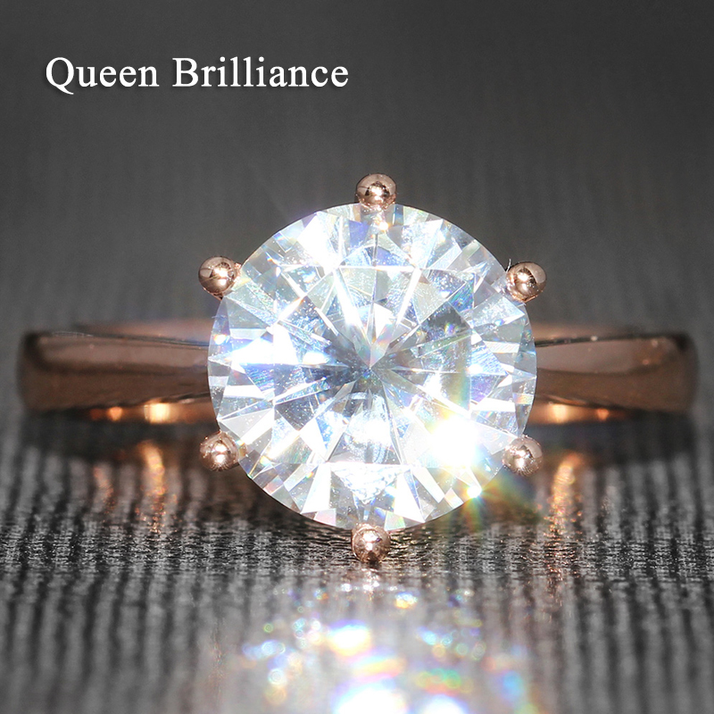 Queen Brilliance 4 Carat ct F Color Engagement Wedding Moissanite Diamond Ring 6 Prongs Ring For Women Solid 14K 585 Rose Gold punk style solid color hollow out ring for women