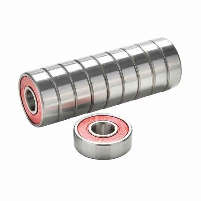New 10Pcs Red Bearings For ABEC 9 Stainless Steel High Performance Roller Skate Scooter Skateboard Wheel Bearings Wholesale