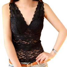 V-necked hollow lace sexy vest lingerie With chest pad with vest halter top tanktop workout tank camisole