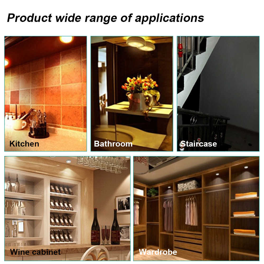 Modern COB LED Wall Lamp 3W Sconce Kitchen Cabinet Closet Push Tap Home Stick On Lamp Blub Stairs Wall Light Bathroom Fixtures