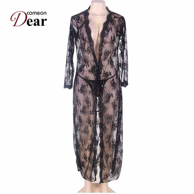 Comeondear Black Sexy Long Mesh Dressing Night Gown Plus Size Lace Sheer Evening  Nightgown Nightie Sleepwear 065519cc0cf2