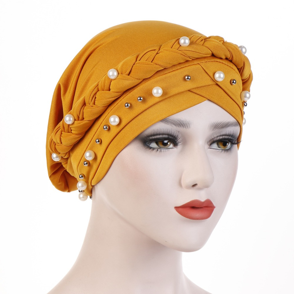 Image 4 - Muslim Women Cross Silk Braid White Pearl Turban Hat Scarf Cancer
