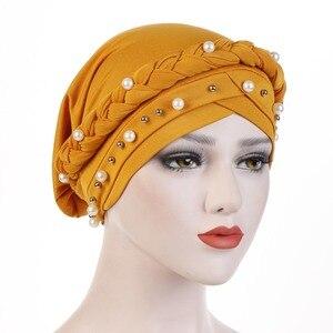 Image 4 - Muslim Women Cross Silk Braid White Pearl Turban Hat Scarf Cancer Chemo Beanie Cap Hijab Headwear Head Wrap Hair Accessories