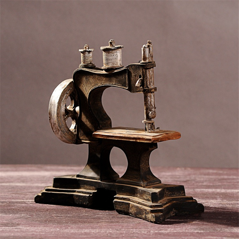 Vintage Craft Resin Antique Style Sewing Machine Model Miniaturas - Home Decor