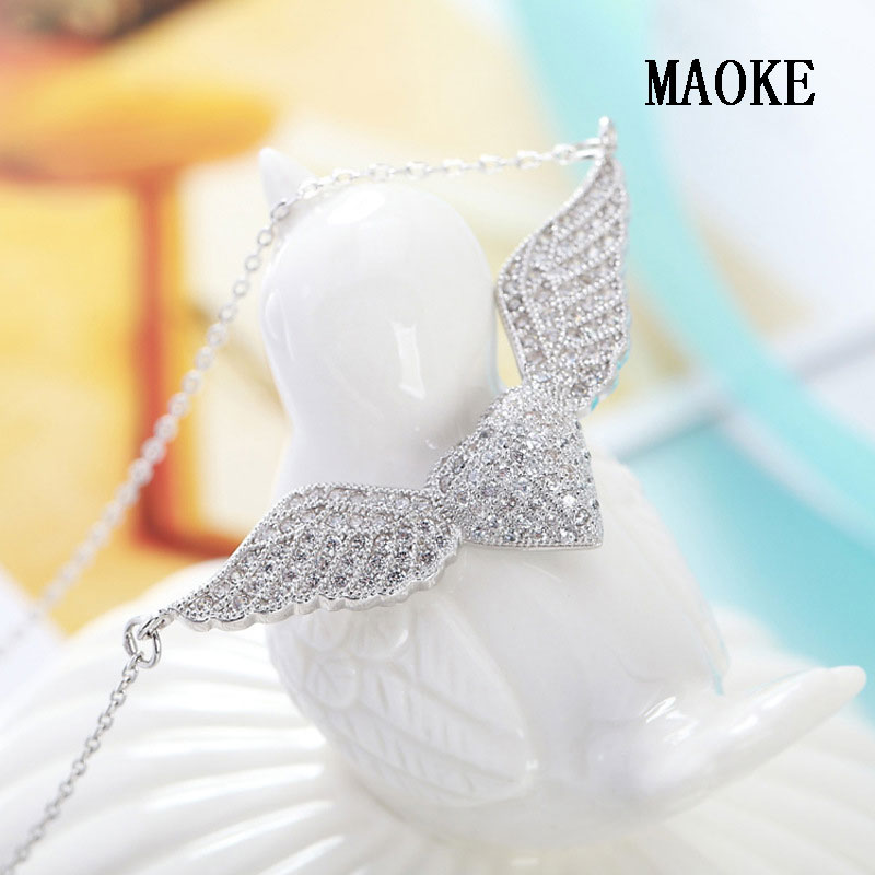 Promotional S925 Sterling Silver Necklace Fashion Heart Angel Wing Pendant Fashion Jewelry for Women's Fashion Gifts