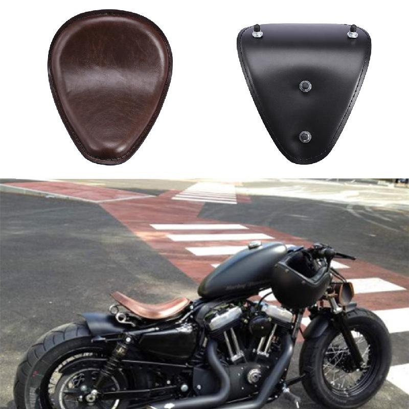 Ironwalls Motorcycle Seat Base PU Leather Neoprene Foam Passenger Solo Seat For Harley Davidson Chopper Curious Bobber Custom motorcycle slim leather solo seat for harley davidson sportster chopper bobber custom