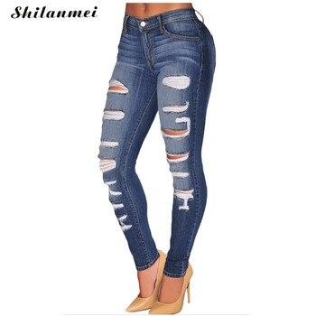 2017 Boyfriend Jeans for Women Skinny Jeans female Pencil Elastic Slim Fit Jeans Ripped Denim High Waist Jeans Femme Hole Jeans фото