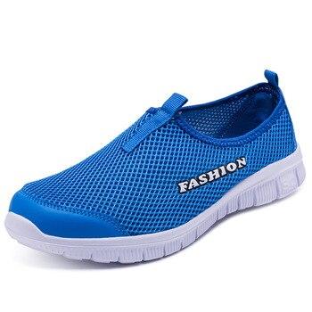 Zapatillas de deporte ligeras para hombre y mujer calzado deportivo transpirable de malla sin
