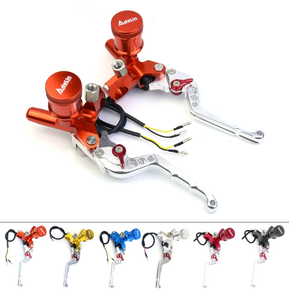 ADELIN motorcycle brake master cylinder lever CNC 7/8 22mm pump for yamaha kawasaki suzuki honda disc hydraulic clutch lever motorcycle parts racing cnc aluminum adjustable hydraulic brake master cylinder reservoir colorful short levers kit black 7 8 22mm for honda rc51 rvt1000 sp 1 sp 2 2000 2006