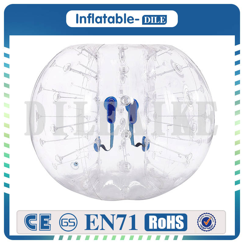Free Shipping 0.8mm PVC 1.0m Inflatable Soccer Ball/ Inflatable Bubble Human Haster Ball Transparent For Fun Game