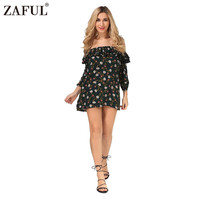 ZAFUL Sexy Floral Print Women Dress Vintage New 3 4 Sleeve Off The Shoulder Ruffled Beach