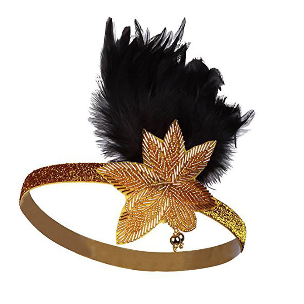 Fashion Retro 1920s Great Gatsby Flapper Headband Feather Star Shape Headpiece Beaded Sequined Hair Band