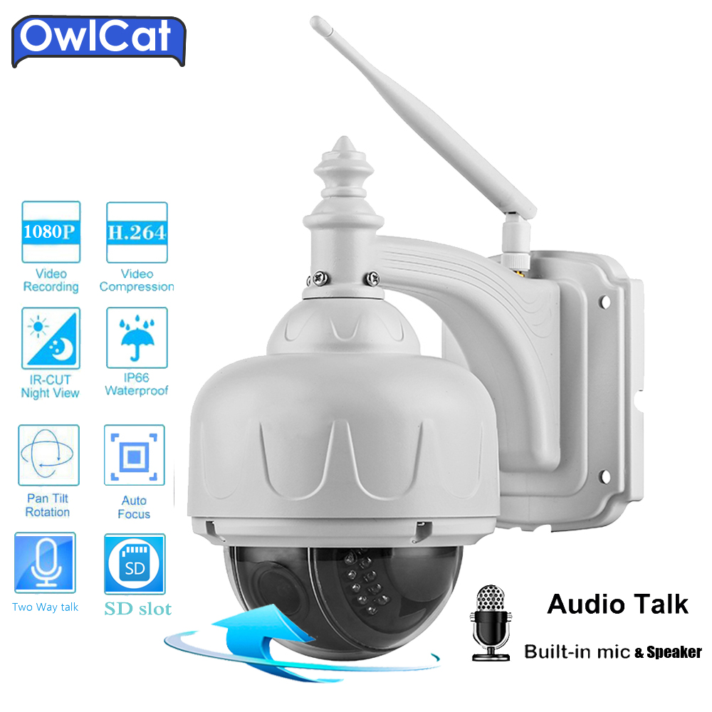 OwlCat SONY323 Outdoor HD 1080P Dome PTZ IP Camera Wifi 2.0MP 5X Zoom Audio SD Slot IR Night Security CCTV Wifi Camera Onvif P2P owlcat hd 1080p dome ptz ip camera wifi 5x optical zoom audio microphone security cctv wifi camera sd slot ir night onvif2 4 p2p