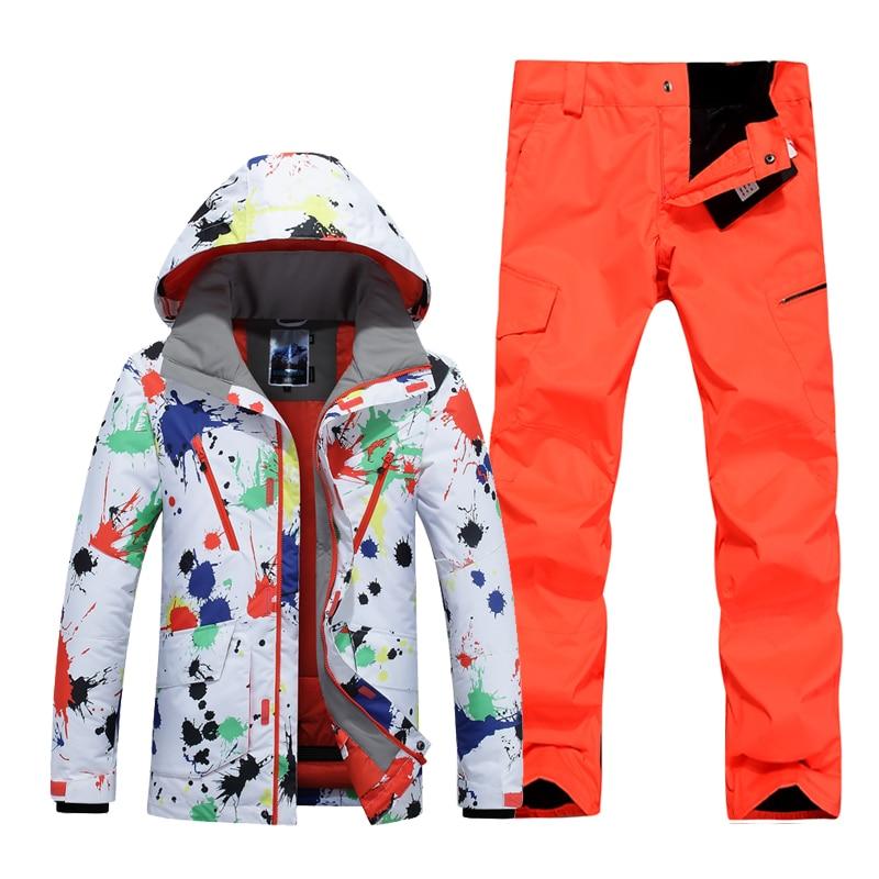 Prix pour 2017 hommes ski costume masculin veste de ski blanc et orange rouge ski pantalon ensemble planche à roulettes ski sports de plein air costume pour hommes