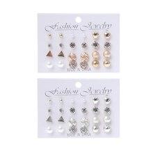 12 Pairs Crystal Punk Geometric Peach Heart Piercing Stud Earrings Set For Women